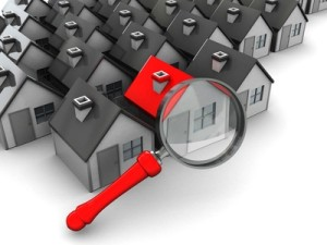 abstract 3d illustration, group of houses and magnify glass